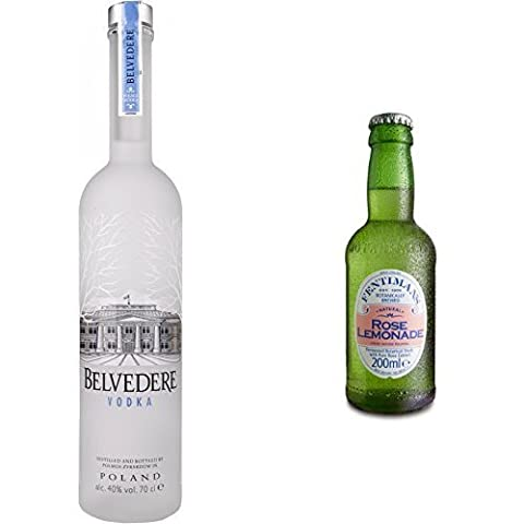 Belvedere Wodka (1 x 0.7 l) mit Fentimans Rose Lemonade, 12er Pack (12 x 200 ml)