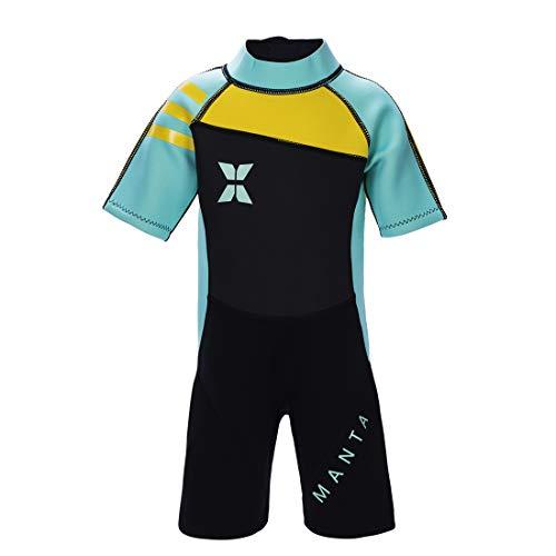 GWELL Jungen Mädchen Kinder Neoprenanzug 2.5MM Neopren Kurzarm Wäremehaltung UV-Schutz Tauchanzug Badeanzug für Wassersport Grün S