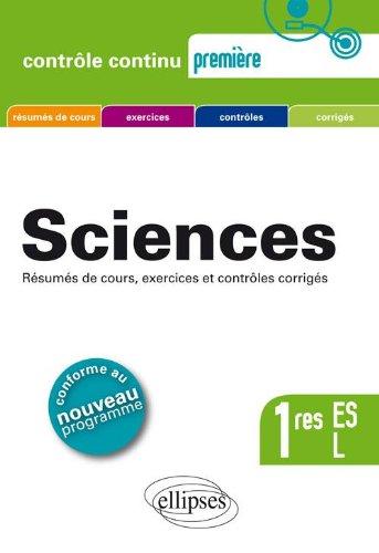 Sciences Premières ES & L Nouveau Programme 2011