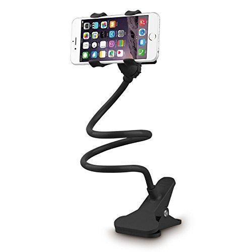 iMinker 360 Rotating Flexible Support de téléphone portable à bras long, support de support Mobile paresseux avec clip double s'adapter pour Bureau Chambre, bureau, cuisine et tous les Smartphones (Noir)