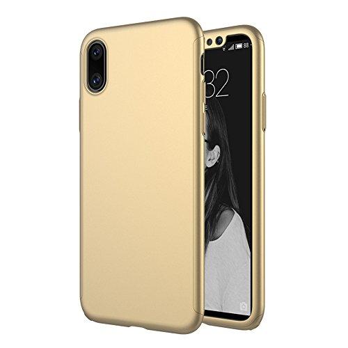 iPhone X Hülle Ganzkörper, 360 Grad Schutz Ultra Dünn Hard Slim Fall beschichtete rutschfeste matt Oberfläche mit Tempered Glas Displayschutzfolie für Apple iPhone X (Blau) gold