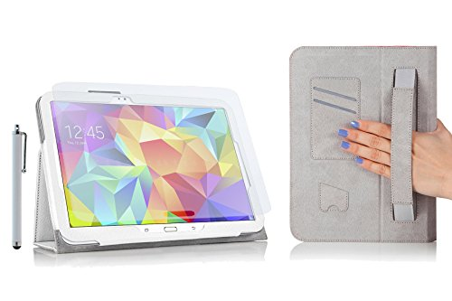 mtb more energy Schutzhülle/Cover / Tasche für Samsung Galaxy Tab S 10.5 - T800 - Weiss - Mit praktischer Halteschlaufe (+ Display-Schutzfolie + Stylus) -