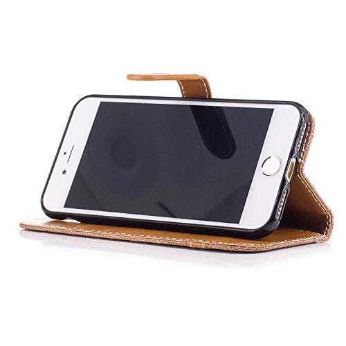 Custodia per Apple iPhone 7, ISAKEN iPhone 7 Flip Cover con Strap, Elegante Bookstyle Contrasto Collare PU Pelle Case Cover Protettiva Flip Portafoglio Custodia Protezione Caso con Supporto di Stand / Plain marrone