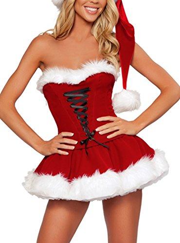 YiZYiF Déguisement Mère Noël Femme Adulte Costume Complet Robe avec Bonnet et...