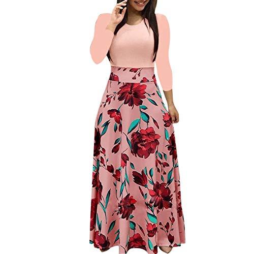 Longra Kleider Damen Elegant Kleider Langarm High Waist Maxikleider Damen Vintage Abendkleid...