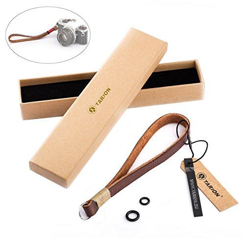 TARION Kamera Handschlaufe Leder Handgelenkschlaufe Strap Armbänder Tragegurt für DSLR Khaki 15mm