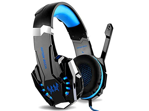 Kotion Every: Over the Ear Headsets with Mic & LED - G9000 Edition for PC/ iPad/ iPhone/ Tablets/ Mobile Phones (Black/Blue) Image 2