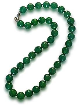 Achat Halskette, natürlich, grün, rund, facettiert, 10mm