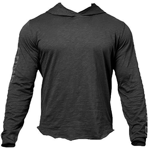 Shawnlen Herren Casual Frühling Langarm Volltonfarbe Wort Print Jacquard Pullover Mit Kapuze Sport Sweatshirt Tops Hoodie (M, schwarz)