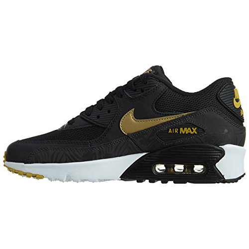 Nike Herren Air Max 90 Print Mesh Gs Laufschuhe, Black (Schwarz (Schwarz / Metallic Gold Tief Zinn-Weiß)), 38 EU