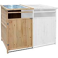 Cache-poubelle Annexe Bois 240l Rangement de jardin Abri pour poubelle