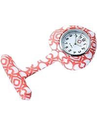 """Bellos Krankenschwester Uhr """"Orange Art"""" Weiß Orange Ansteckuhr mit Nadel Herz Damenuhr"""