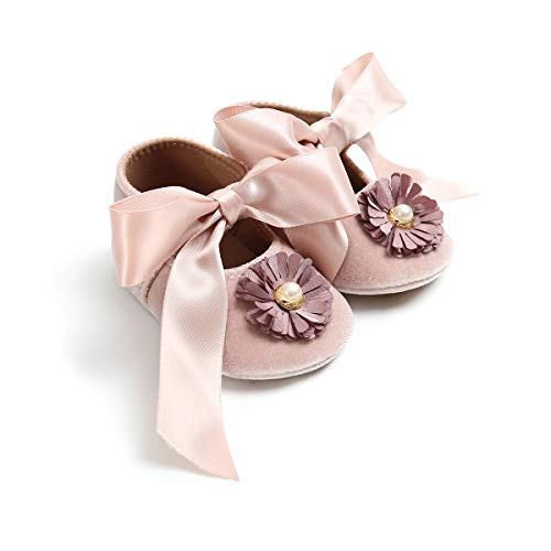 WangsCanis Baby Mädchen Newborn Casual Weiche Sohle Loafers Mokassin Blume Perle Bowknot Turnschuhe Schuhe (0-6 Monate, Aprikose) -