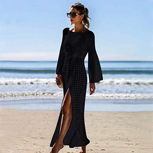ISKER Badeanzug Hohl Abdeckung Frauen Strandkleid Stricken mesh Beachwear Bikini weibliche Tunika Robe (Robe Der Frauen Stricken)