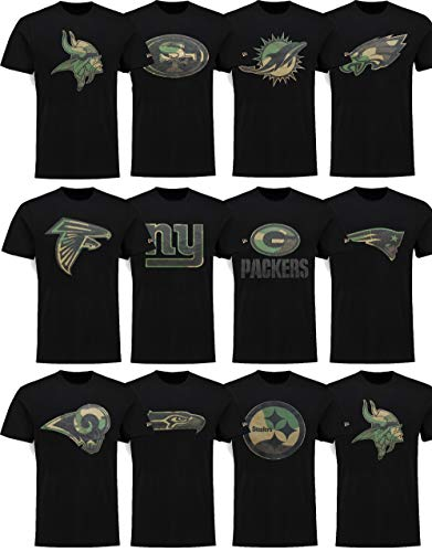 New Era Miami Dolphins T Shirt Camo Logo Tee Black - L -
