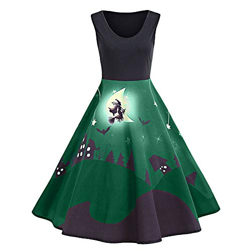 Halloween Party Damen Vintage Print Sleeveless Halloween Langes Kleid MYMYG Drucken Ärmellos Kleid Jahrgang Swing Kleid Poncho Kostüm (Grün,EU:38/CN-L)