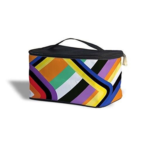 60 's formes géométriques cosmétiques maquillage étui de rangement – Fermeture éclair sac de voyage, orange, One Size Cosmetics Storage Case