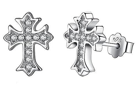 SaySure - 925 Sterling Silver Crystal Cross Stud Earrings