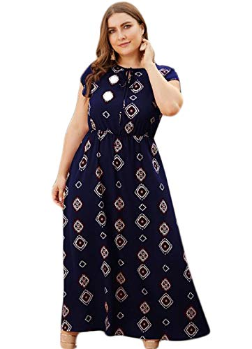 ZJEXJJ Sommer Mode Womens Urlaub Geburtstag Familie Partei formellen Anzug Blumendruck Kleid Damen Sommer Beach Party Kleid Shirtdress Faltenrock (Color : Blue, Size : XXL) - Womens Cocktail-anzüge