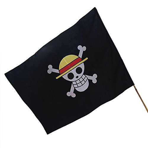 FunnyToday365One Piece Pirate Drapeau Vlag Jardin Drapeaux et banderoles Dessin animé Victory Banderole Chapeau de Paille Monkey D Luffy Drapeau