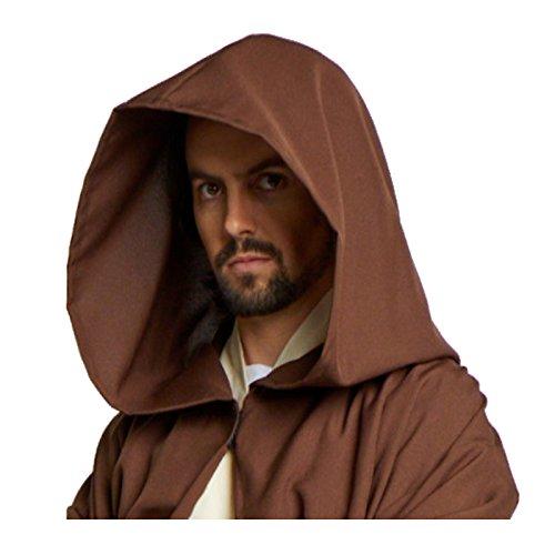 Hombres del Jedi Sith Robe capa disfraz adulto Marrón Negro - Marrón -