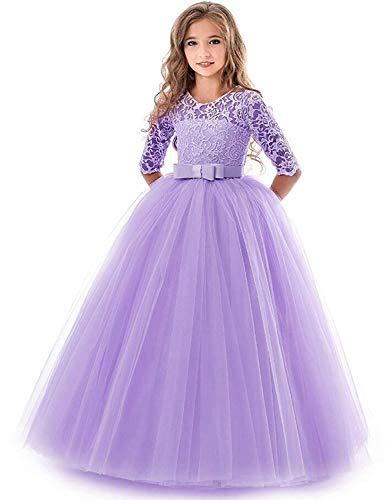 IBTOM CASTLE Blumensmädchenkleid Prinzessin Festliches Herbst Kinder Mädchen Kleid Festzug Kleider Hochzeit Partykleid Lila 5-6 Jahre