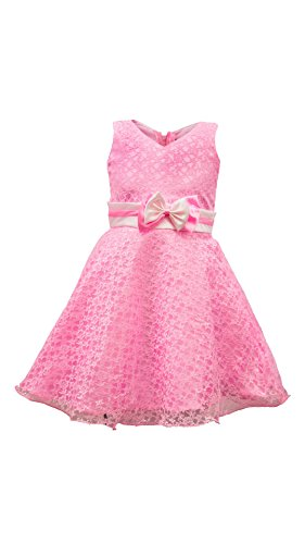 My Lil Princess Baby Girls Birthday Party wear Frock Dress_Golden Pink Flora_1 - 1.5 Years