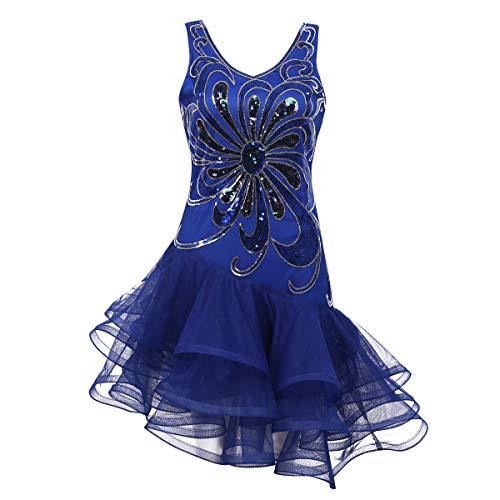 Tango Kleid Kostüm - Alvivi Damen Pailletten Kleider Tanzkleid Latein Rumba Cha Cha Tango Samba Ball-Kleid Gymnastikanzug Damen Party Kostüm Kleid Blau M