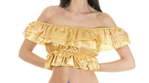 Shirt Piraten Satin Kostüm - Turkish Emporium Mittelalterbluse mit Rüschen Kurzarm Zigeuner Piraten mittelalterliche Kostüm Von der Schulter LARP Gothic (Gold)