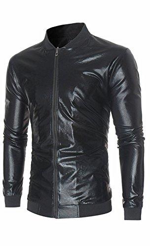 UMilk Herren Metallic Nachtclub Baseball Varsity Bomber Jacke glänzend schlanke Zip Up Kostüm Anzug (Männlich Pilot Kostüme)