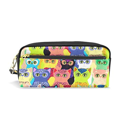 Ahomy Federmäppchen für Mädchen und Jungen, bunte Katzen im Cartoon-Stil, für Stifte, Schreibwaren, Make-up-Tasche, große Kapazität, wasserdicht für Frauen