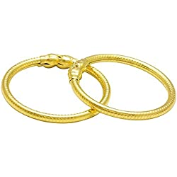 Dzinetrendz Gold covered plain and sober Cuff kada Bangle Nazariya, wrist lucky charm jewellery for New born baby child jewellery (0-9months)