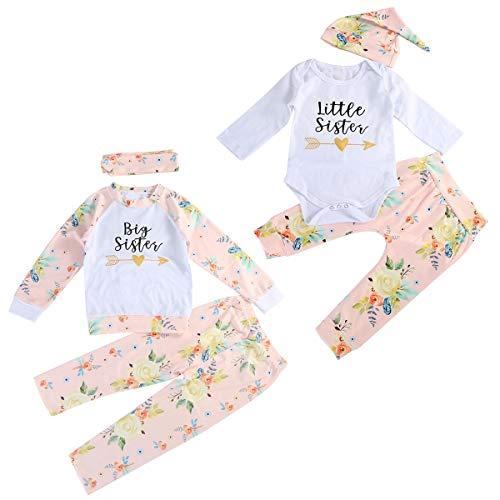Puseky Baby Mädchen große kleine Schwester passende Outfits Floral Shirt Tops + Hosen + Stirnband/Hut Kleidung Set (Color : White, Size : Little-0M-6M) - Schwester Große Kleine Passende Schwester
