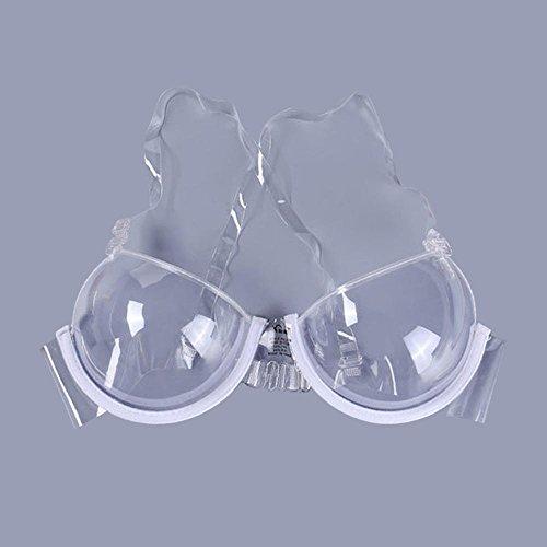 AOLVO Frauen Sexy Transparenter BH mit unsichtbar Schultergurt für Party Kleid tragen, farblos, 38