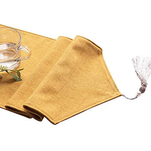 WYQ Gelber Tischläufer mit Quasten, Baumwollleinwand-Vintage-Design-Dekor ideal für Familienessen, Versammlungen, Partys, täglicher Gebrauch 6 Größen verfügbar Table Runner