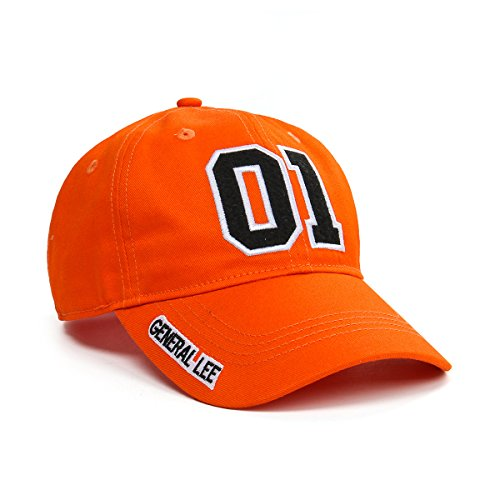 Nofonda Applique Embroidered 01 General Lee Good OL' Boy Adjustable Unisex-Adult Baseball Cap Hat (Orange)