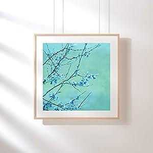 Fotografie Print Kunstdruck 12x12cm Blaue Blumen Quadrat