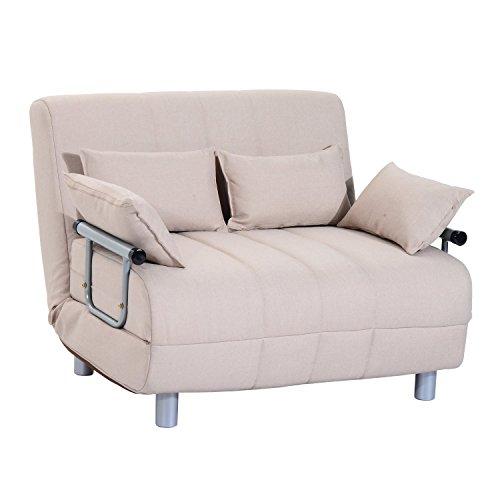 Homcom divano letto matrimoniale in acciaio e tessuto di poliestere con 4 cuscini crema