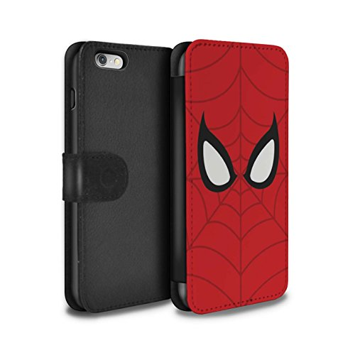 STUFF4 PU-Leder Hülle/Case/Tasche/Cover für Apple iPhone 6 / Spider-Man Maske Inspiriert Muster / Superheld Comic-Kunst Kollektion
