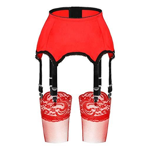 Slocyclub Women 6 Straps Stretch Strumpfgürtel und Strumpfsets mit Metallclips(Rot,2XL)