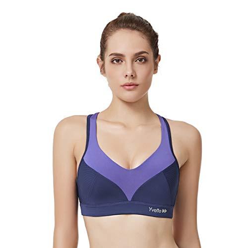 Yvette Damen Sport BH Starker Halt Ringerrücken Ohne Bügel Große Größe Bustier für Fitness Yoga Joggen, Navy Blau, 100F