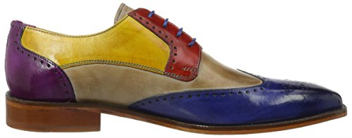 Melvin & Hamilton Herren Jeff 14 Derby Mehrfarbig (Crust China Blue, Powder, Rouge, Yellow, eggplant LS NAT.)
