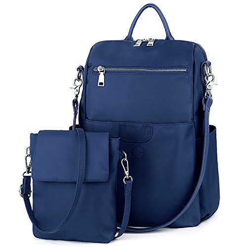 UTO Damen Backpack Purse Oxford wasserdicht Kleidung Nylon Frau Rucksack Detachable Crossbody Schultertasche blau - Loop Puller