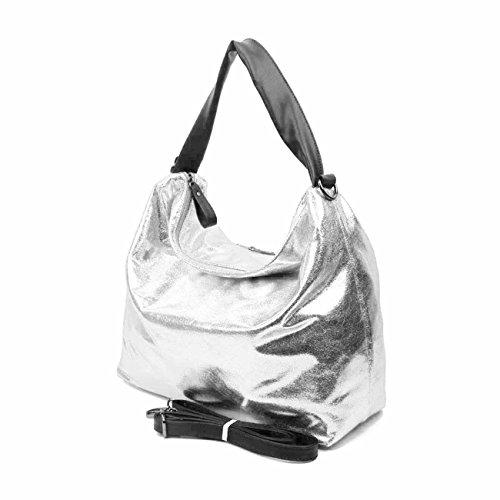 OBC DAMEN TASCHE SHOPPER METALLIC Henkeltasche Handtasche Schultertasche Umhängetasche Hobo-Bag Rose Silber V1