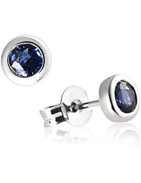 Goldmaid Damen-Ohrstecker 375 Weißgold 2 blaue Saphire Ohrringe Schmuck