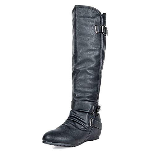 da80205127e Dream Pairs Women s New-Akris Black Pu Knee High Hidden Wedge Winter Riding  Boots Wide