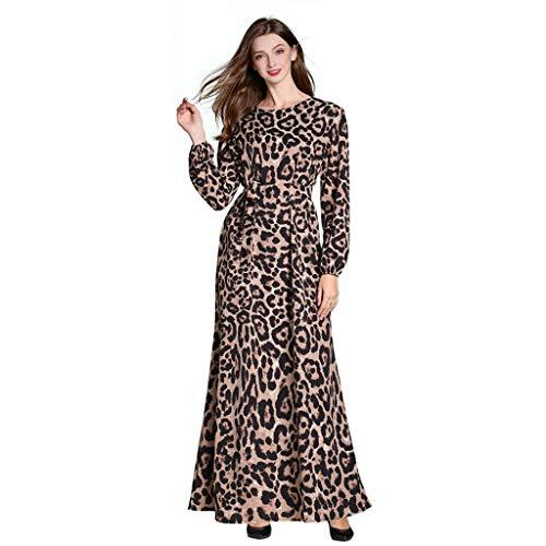 Lucky Mall Damen Leopard Bedruckter Langer Kleid, Frauen Mode Lange Ärmel Islamisch Kleidung Muslimische Ramadan Robe Mittlerer Osten Traditionell ()