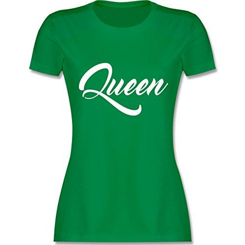 Shirtracer Partner-Look Pärchen Damen - Queen Pärchen Lettering - Damen T-Shirt Rundhals Grün