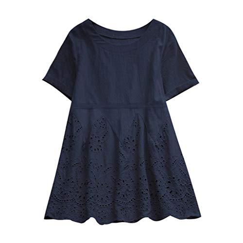 iHENGH Damen Top Bluse Bequem Lässig Mode T-Shirt Frühling Sommer Blusen Frauen Vintage Solide Floral Aushöhlen Saum Oansatz Kurzarm Tops(Marine, 3XL) (Air Force Trainingshose)
