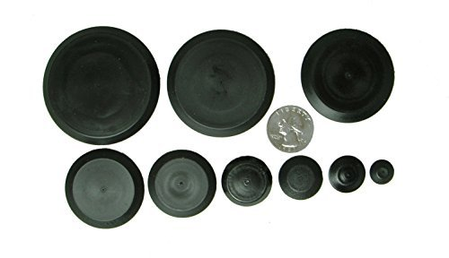 50 Piece Flush Mount Black Hole Plug Assortment for Auto Body and Sheet Metal by Caplugs -